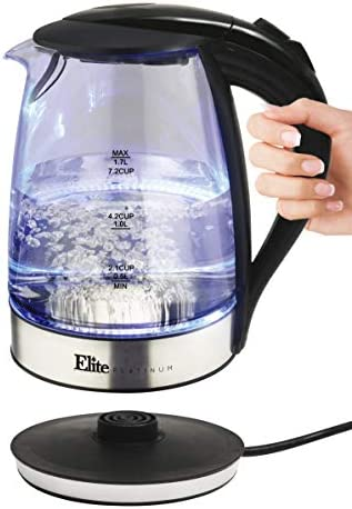 Elite Platinum EKT-200X Glass Electric Tea Kettle Hot Water Heater Boiler BPA-Free with Blue LED Interior Fast Boil and Auto Shut-Off, Otter Controller, 1.7L, Stainless Steel Black