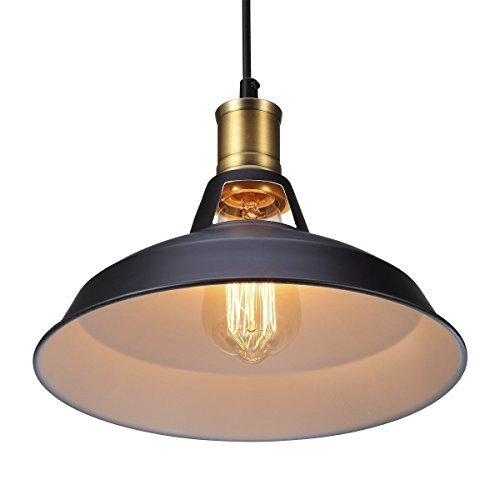 B-right Retro Suspension Luminaire Industrielle Vintage Plafonnier Fer rétro Abat-jour, Extérieur noir et blanc, Chaîne suspendue au plafond.Une pluralité de produits plus approprié Bar et Restaurant(le produit ne comprend pas une lampe led)
