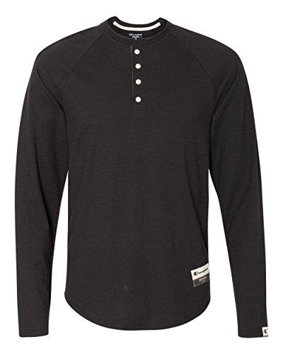 Champion Men's Authentic Originals Long Sleeve Henley, Black, XX-Large