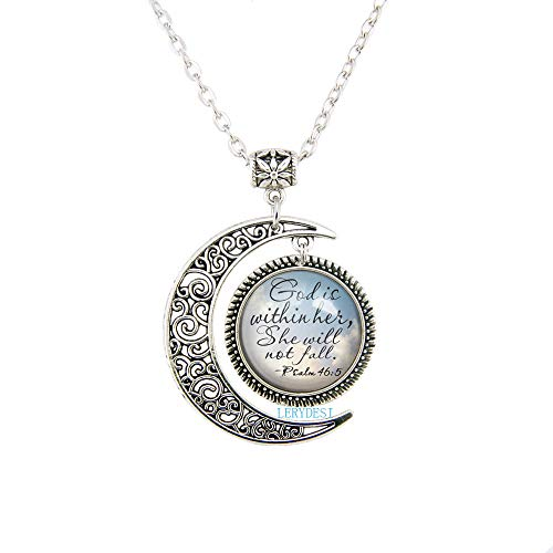 LERYDESI Christian Jewelry Psalm 46:5 Scripture Pendant God Is Within Encouragement Necklace Bible Quote