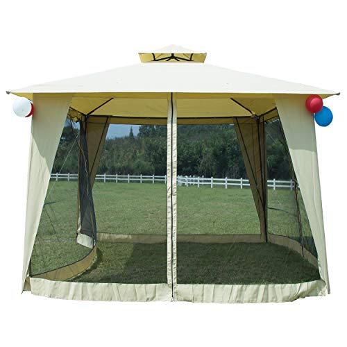 GOJOOASIS Metal Gazebo Outdoor 2-Tier Canopy Party Tent Mesh Sidewalls 12x12 Beige