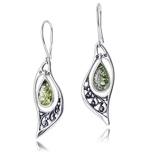 Silver Amber Earrings, Green, Baltic Amber-Green Amber Filigree Earrings