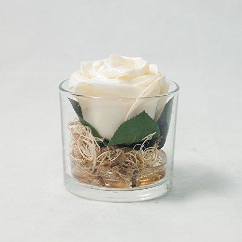 Rose Im Glas Tischgesteck Tischdeko Mit Kunstlicher Blume Amazon De