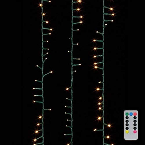 Raz 36.5' Warm White Compact LED 500 Light Garland with Green Wire and Remote G3737065