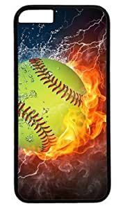 Popular Softball Fire and Ice DIY Hard Shell Black Case For Iphone 4/4S Cover Case Perfect By Custom Service