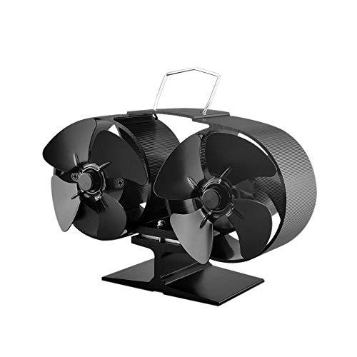 Festnight 8 Blade Twin Motor Heat Powered Eco Fireplace Fan Fuel Cost Saving Aluminum Black for Wood Gas Coal Pellet Log Heaters