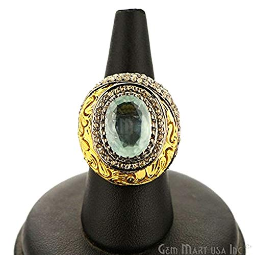 Victorian Estate Ring, 6.35 cts Aquamarine with 2.15 cts of Diamond as Accent Stone ()