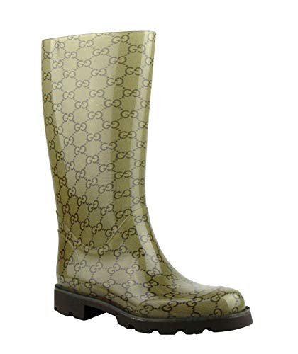 Gucci Womens Guccissima Pattern Light Brown Rubber Rain Boots ​248516 8367