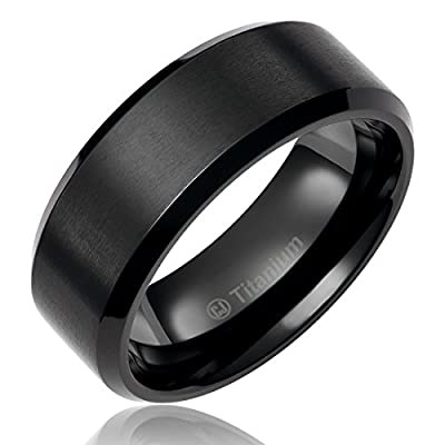 8MM Men's Titanium Ring Wedding Band Black Plated with Flat Brushed Top and Polished Finish Edges