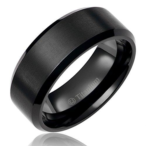 Edge Designer Wedding Ring (8MM Titanium Promise Engagement Rings for Men   Wedding Bands for Him   Black Plated   Brushed Top and Polished Edges [Size 11] )