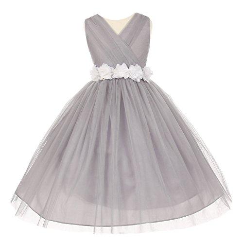 Big Girls Silver White Chiffon Flowers Tulle Junior Bride...