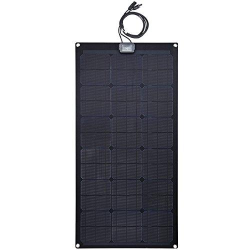 Lensun 80W 12V Black Fiberglass Semi-Flexible Monocrystalline Solar Panel for 12V Charge Battery on Boats, Caravans, Motorhomes, Camping Vans, Yachts, RVs