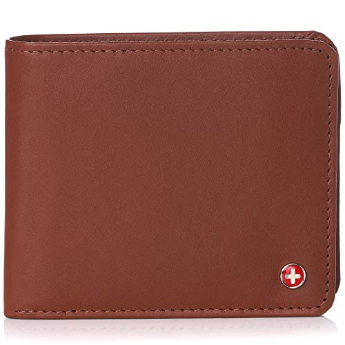 Alpine Swiss RFID Men's Wallet Deluxe Capacity Hybrid Flipout ID Bifold With Divided Bill Section Smooth Finish Tan