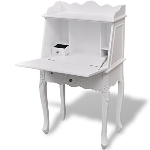 Festnight Wood French Secretary Desk with Drawer and Shelves , 24' x 14' x 44', White
