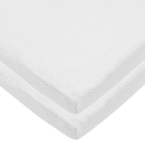 - American Baby Company 2 Pack 100% Natural Cotton Jersey Knit 18 x 36 Cradle Sheet - Fitted, White, Soft Breathable, for Boys and Girls