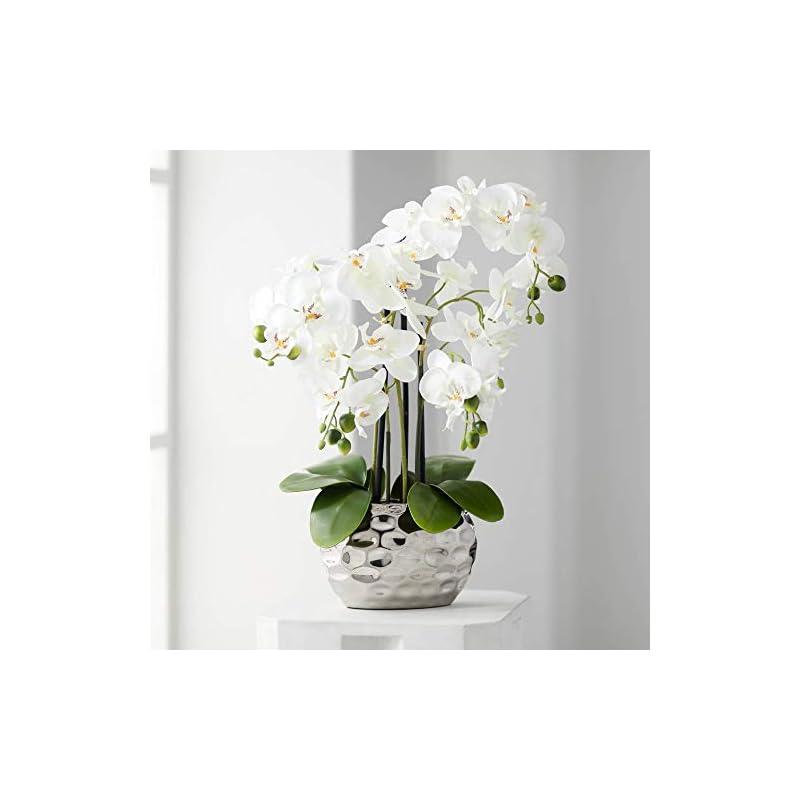"silk flower arrangements dahlia studios white phalaenopsis 23"" h faux orchid in silver resin pot"