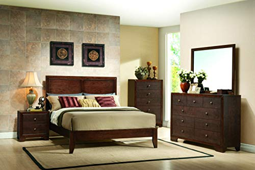 Platform Five Piece - Giantex 5 Piece Wood Bedroom Sets Bed Frame Storage End Table Dresser Mirror Chest Nightstand (Dark Brown, King Size 5 Piece Set)