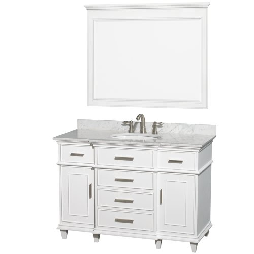 Wyndham Collection Berkeley 48 inch Single Bathroom Vanity in White with White Carrera Marble Top with White Undermount Oval Sink and 44 inch Mirror For Sale