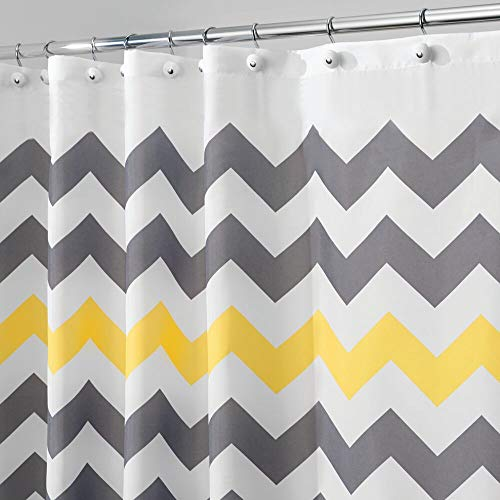 mDesign Decorative Chevron Print Stall-Sized Water Repellent, Fabric Shower Curtain for Bathroom Showers and Stalls, Machine Washable - 54