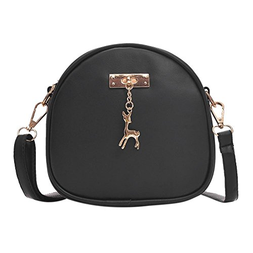 Everpert Cute Zipper PU Leather Shoulder Handbag Women Girl Mini Round Messenger Bag Black