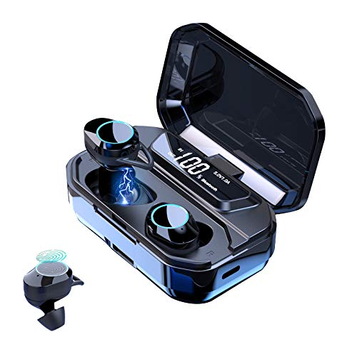 Haehne Bluetooth 5.0 Wireless Earbuds with【3300mAh Charging Case】 IPX6 Waterproof HiFi Sound Quality Headphones in-Ear Built-in Mic,Touch Control Earphones, Backup Power Bank,Sport Headsets