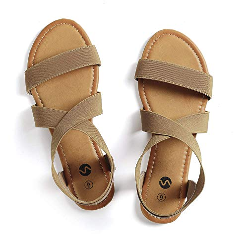 Rekayla Elastic Ankle Wrap Flat Sandals for Women Brown -