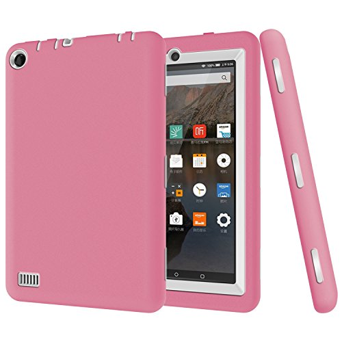 Photo - Fire 7 case, Fire 7 2015 case, Asstar 3 in 1 Hybrid Rugged Shockproof Impact Resistant Armor Defender Protection Case for Amazon Fire Tablet (7 inch Display, 2015 Release Only) (Pink)