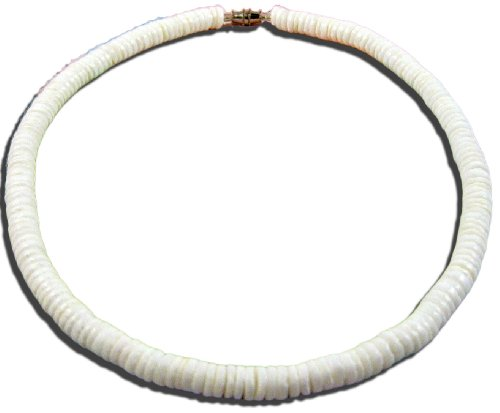 Cut Necklace Shell Necklaces - Native Treasure - 14 inch Kid's Smooth White Clam Shell Heishe Flat Cut Puka Shell Necklace - 1/4