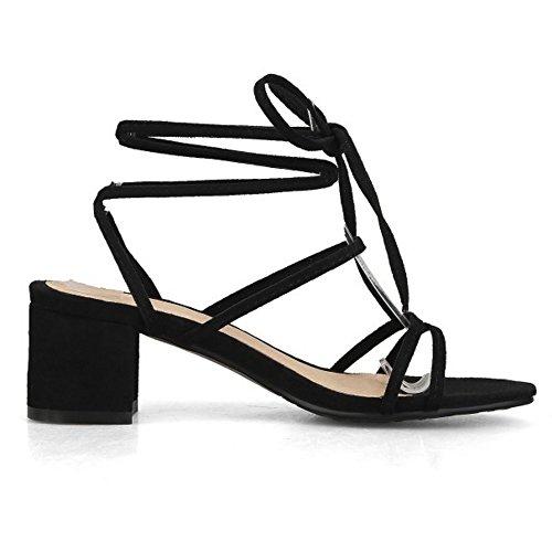 Negro Cordones Tacon Moda RAZAMAZA Cordones Mujer Colegio Zapatos Ancho Sandalias ApqfcUayfz