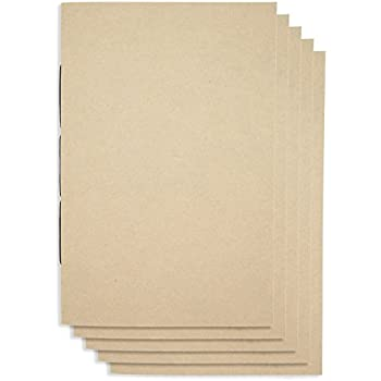 (Set of 5) A5 Handmade Unlined Notebook 8.25 x 5.5 inches   Plain Blank Cover   80 Unlined Page   Lay Flat Binding   Cream Paper