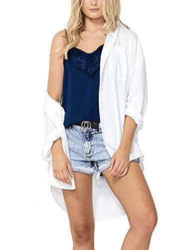 Women's Short Halter Tank Tops Lace Crochet Camisole V Neck T-Shirt Navy Blue XL