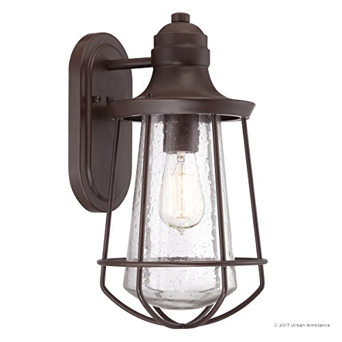 Luxury Vintage Outdoor Wall Light, Medium Size: 15''H x 8.5''W, with Nautical Style Elements, Cage Design, Estate Bronze Finish and Seeded Glass, Includes Edison Bulb, UQL1121 by Urban Ambiance by Urban Ambiance (Image #7)