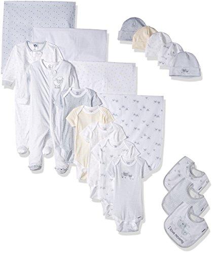 Gift Set Blanket Onesie - Gerber Baby Girls 19 Piece Essentials Gift Set, Lil' Lamb, 0-3M: Onesies/Sleep 'n Play, 0-6M: Cap, One Size: Bib/Blanket