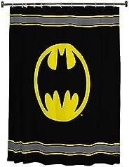Warner Bros. Batman Logo Cortina de regadera de Microfibra, 182.88 cm por 182.88 cm