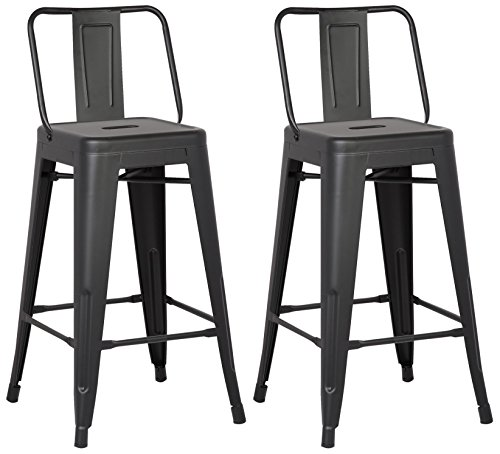 AC Pacific Modern Light Weight Industrial Metal Bucket Back Barstool, 30