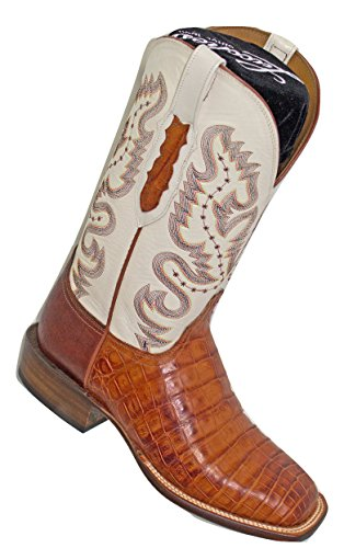 Lucchese Men's Cognac Burnish Caiman Belly Boots CY1005.W8 sz 8.5EE