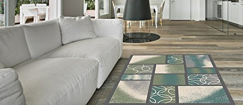 Traditional Green Indoor Rugs (Anti-Bacterial Rubber Back AREA RUGS Non-Skid/Slip 5x7 Floor Rug | Sage Green Squares Indoor/Outdoor Thin Low Profile Living Room Kitchen Hallways Home Decorative Traditional Area Rug)