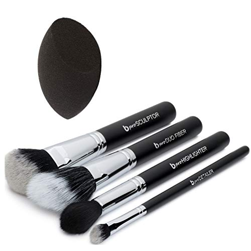 Contour Highlighter Makeup Brush Set - Best 5 pc Powder Cream Full Face Contouring Brushes and Latex Free Blender Sponge Kit, Professional Quality Soft Synthetic Vegan Brochas Para Ojos