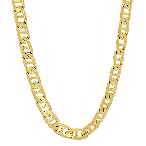 - The Bling Factory 5mm 14k Gold Plated Mariner Link Chain Necklace, 24