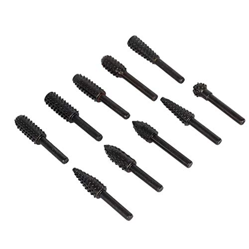 Industrial Tool Accessories 10pcs Rotary Burr Set Wood Carving File Rasp Drill Bits 1/4 inch 6mm Shank (Best Price Electric Carving Knife)