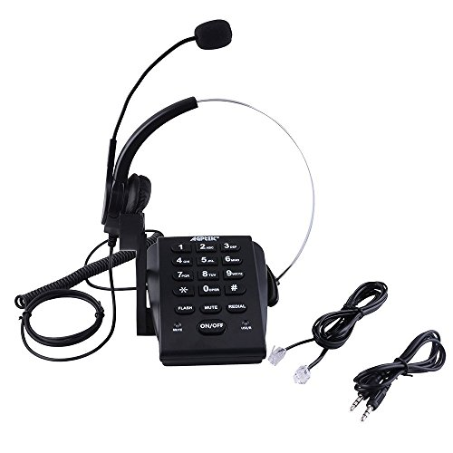 Agptek HA0071 Noise Cancellation and PC Recording Call Center Dialpad Monaural Corded Headset Telephone - Black