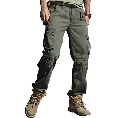 Od Green Pants Mens Big and Tall Regular Fit Elastic Waist Multi Pockets Athleisure with Zipper Combat Active Wild Camping Climbing Combat Outdoors for Man