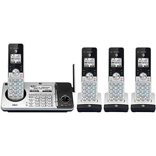 Waiting Talking Call Caller Id - AT&T CL83484 DECT 6.0 Cordless Phone with Answering System, Dual Caller ID/Call Waiting, 4 Cordless Handsets, Silver/Black
