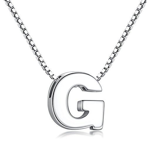 Candyfancy G Initial Necklace 925 Sterling Silver Alphabet Personalized A-Z Letter Pendant Necklace for Women Girls Gift with 18