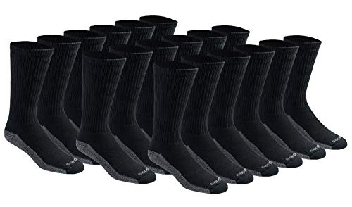 Dickies Men's Multi-Pack Dri-Tech Moisture Control Crew Socks, Black (18 Pair), Shoe Size: ()