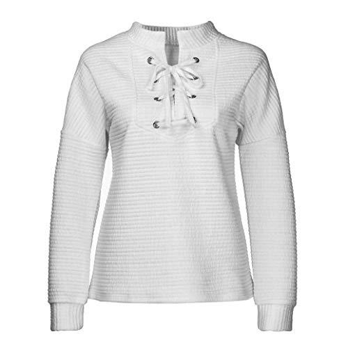 ?? Vendita di Liquidazione Donne Bendaggio Solido Con Scollo A V Allentato Pullover Camicetta T-Shirt Maniche Lunghe Elegante Autunno Camicette Camicie Casual Tops Bianco
