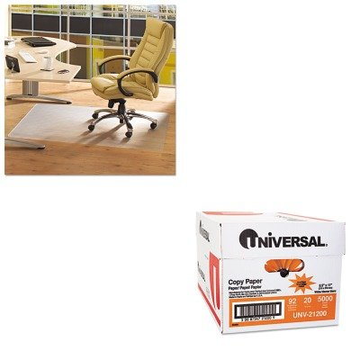 KITFLRPF1213425EVUNV21200 - Value Kit - Floortex ClearTex Advantagemat Phthalate Free PVC Chair Mat for Hard Floors (FLRPF1213425EV) and Universal Copy Paper (UNV21200)