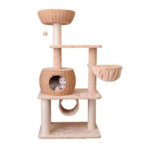 FTFDTMY Webender Katzenkletterrahmen, handgefertigtes Katzenhaus Große mehrschichtige Kratzbaum-Indoor-Katzensprungplattform (Größe: 45 * 65 * 133 cm)