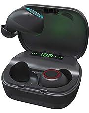 Fones De Ouvido TWS sem Fio Bluetooth 5.0 com Microfone Integrado, Estojo de Carregamento Digital Inteligente de Led, à Prova D'áGua, Preto