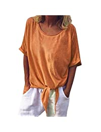 iYYVV Womens Casual O-Neck Solid Short Sleeve Knot Shirt Retro Tops Loose Blouse